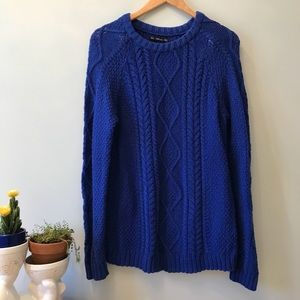 EUC Zara Knit Crewneck Blue Oversized Sweater L